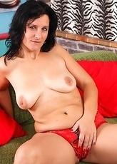Naughty housewife teasing before pleasing