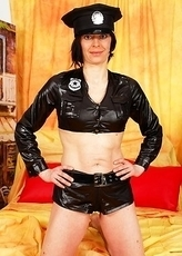 This dirty female cop loves to go naughty