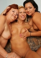 Three horny old and young lezzies make out