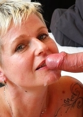 Horny blonde housewife sucking and fucking like crazy