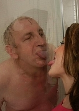 Hot babe catching a dirty old man in the shower